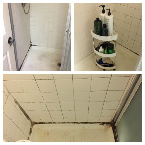 Collage of shower stall before cleaning