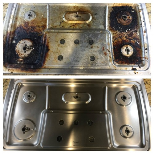 Photos of a stove top before and after cleaning