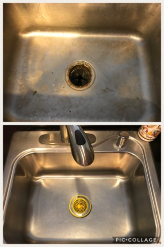 Collage of photos of a kitchen sink before and after cleaning