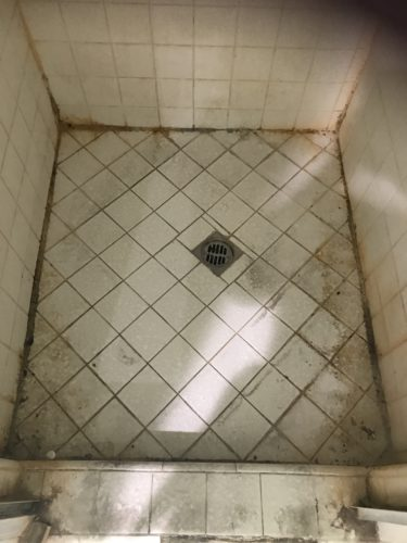 Photo of dirty shower floor