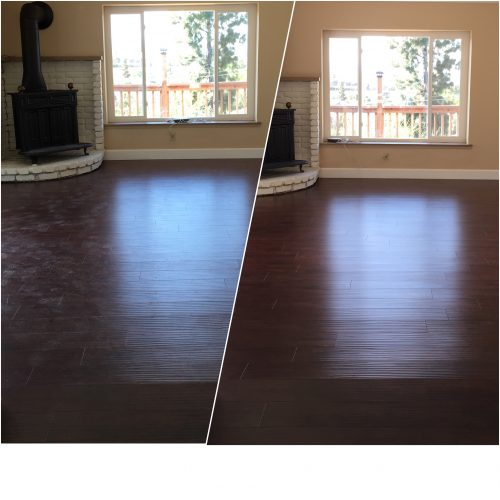 Collage of photos showing wood flooring before cleaning by Sunshine then after cleaning