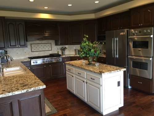 Photo of cleaned kitchen with island